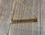 Personalized Gold Plated Bar Pendant Necklace -Engraved in your personal handwriting